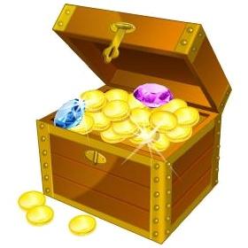 coffre contenant un trésor (illustration)