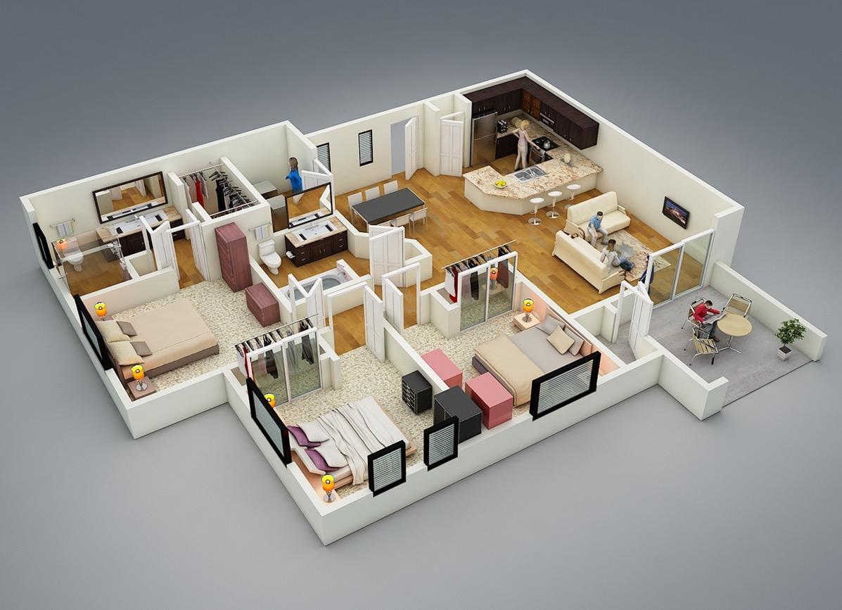 25 Planos de una casa moderna de una sola planta de tres dormitorios