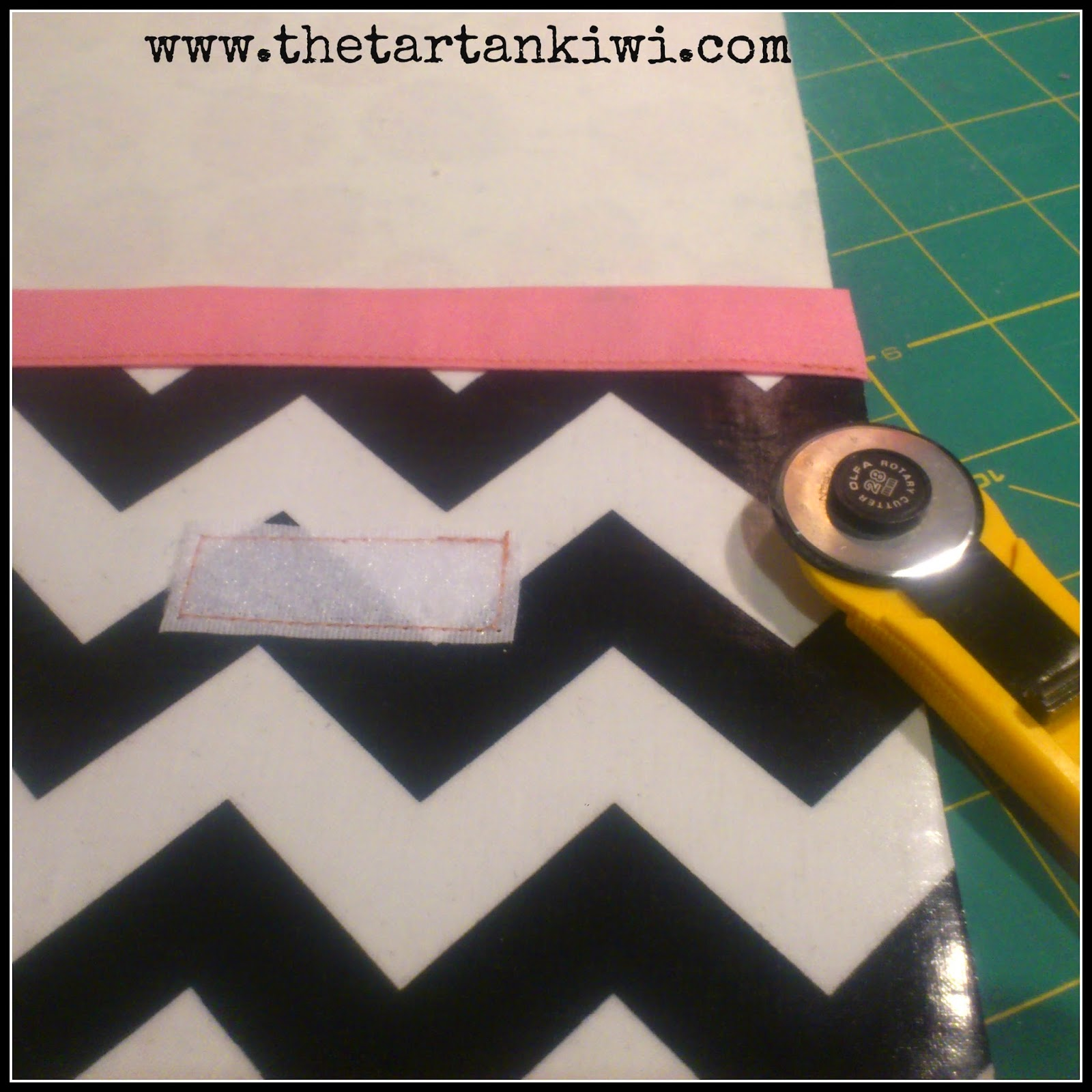 63ea0f3b108d Measure two spots about 2.5 inches from the top of the front piece of  laminated cotton and sew the fuzzy parts of the velcro to the outer (shiny)  side of ...
