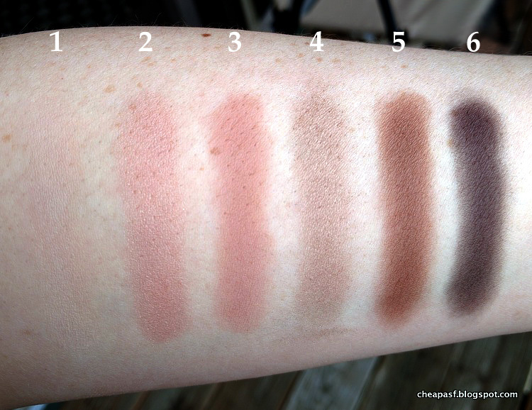 Swatches of Laura Mercier Eye Art Artist's Palette: (1) Vanilla Nuts, (2) Primrose, (3) Fresco, (4) Bamboo, (5) Truffle, and (6) Espresso Bean.