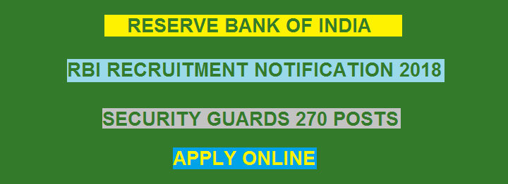 आरबीआई RBI Online Recruitment 2018 Security Guards 270 Vacancies - Apply Now