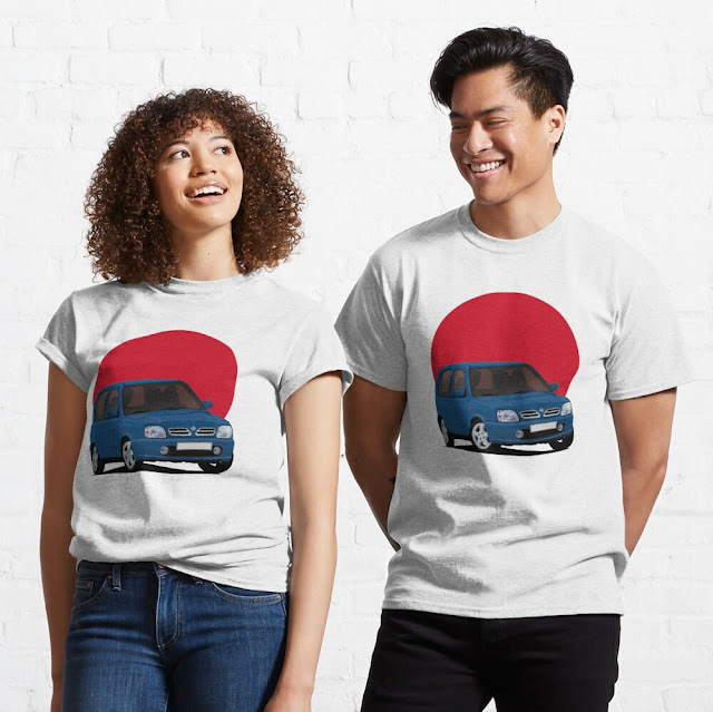 Nissan Micra March K11C with the rising sun car shirts