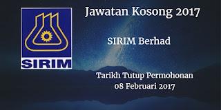Jawatan Kosong SIRIM Berhad 08 Februari 2017