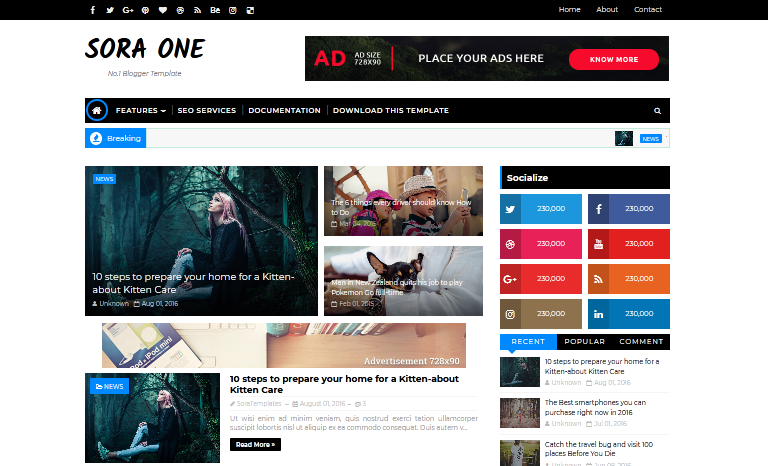 Sora One Blogger Template - AdSense Friendly Blogger Template
