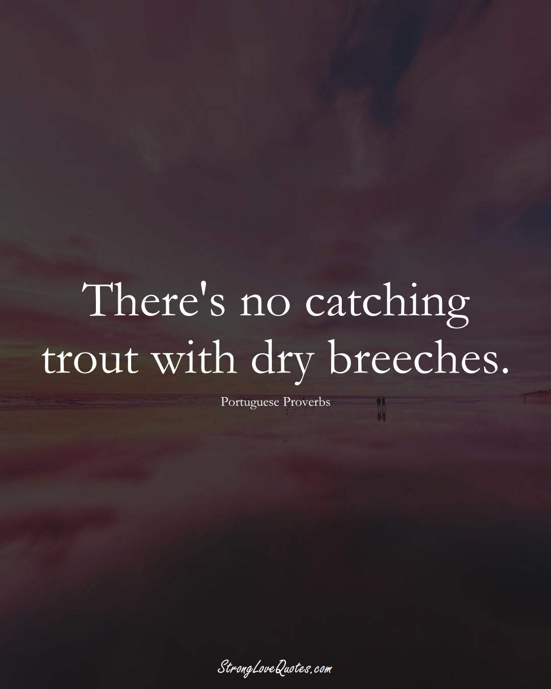 There's no catching trout with dry breeches. (Portuguese Sayings);  #EuropeanSayings