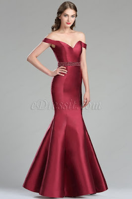 vintage red off the shoulder mermaid prom gown