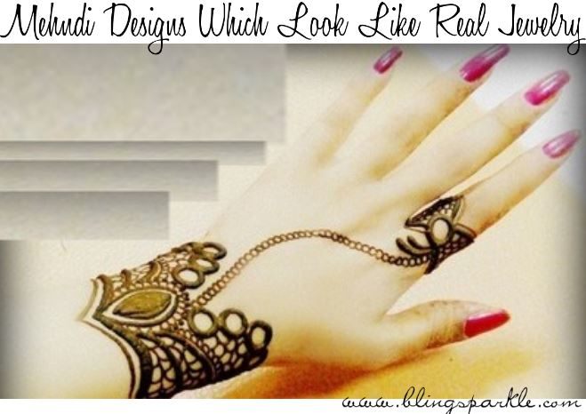 Mehndi Hand Name : Henna mehndi designs which look like real jewelery bling sparkle