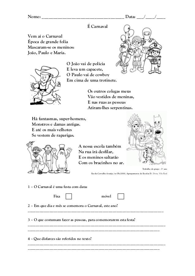 Interpretação de Texto sobre o Carnaval.