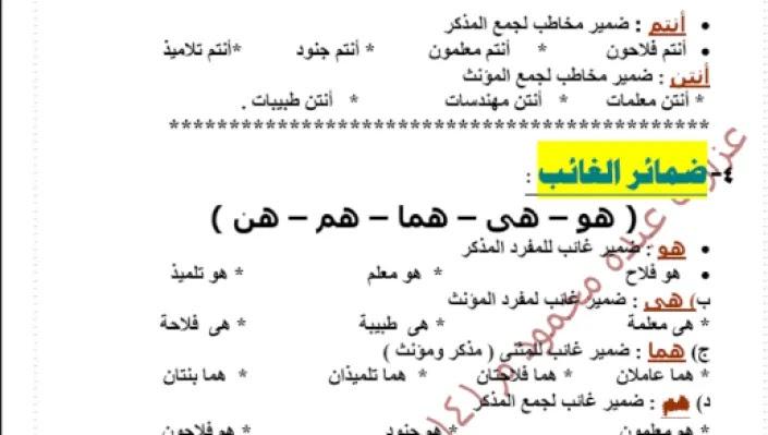 مذكرة لغة عربية للصف الثاني الابتدائي الترم الثاني لعام 2021