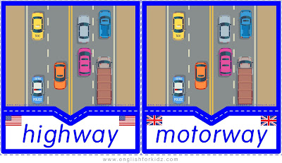 highway and motorway printable transportation flashcards American and British English