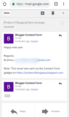 Email received successfully