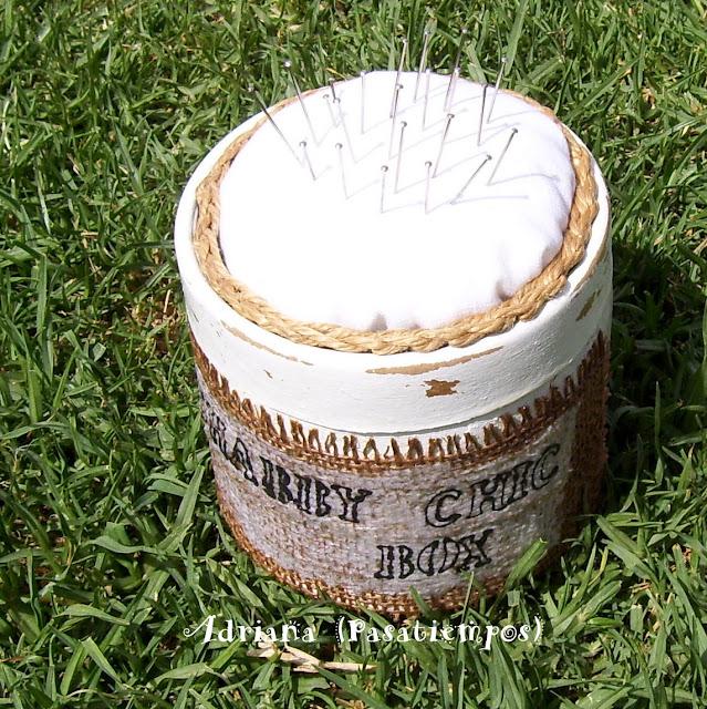 Caja costurero Decoupage Shabby chic box Arpillera
