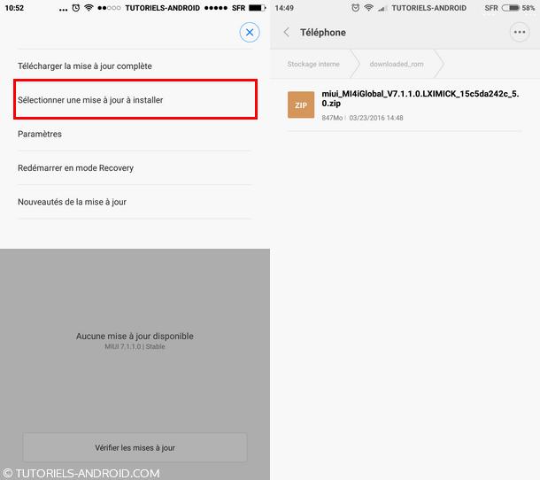 Sélectionner mise à jour à installer Xiaomi