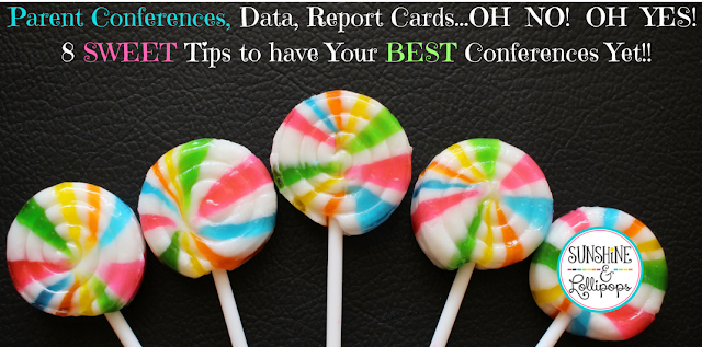 Parent Conferences, Data, Report Cards...OH NO!  OH YES!  8 SWEET Tips to have the BEST Conferences Yet!! If you follow these SWEET tips, your conferences will so as smooth as icing a cake...well even icing a cake can be a little lumpy...let's just say these tips will help your parent/teacher conferences go as smooth as possible. i KNOW you will love #4 and you are probably already doing #2! Here's to some fabulous conference this year!