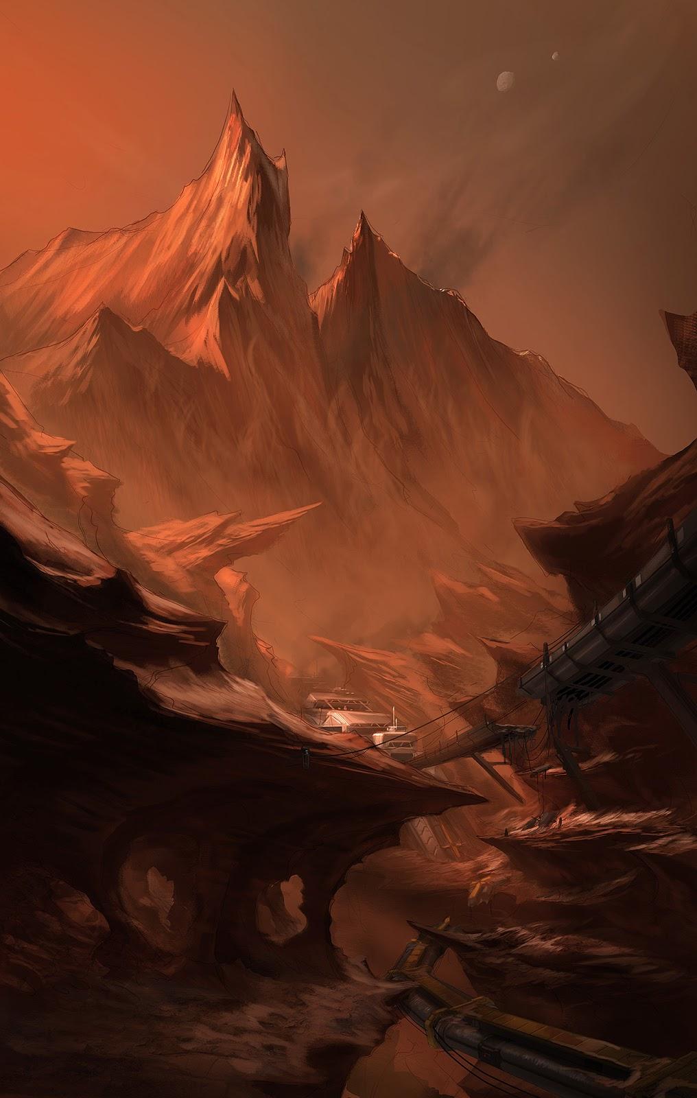 Human base in a Martian canyon by Colin Geller