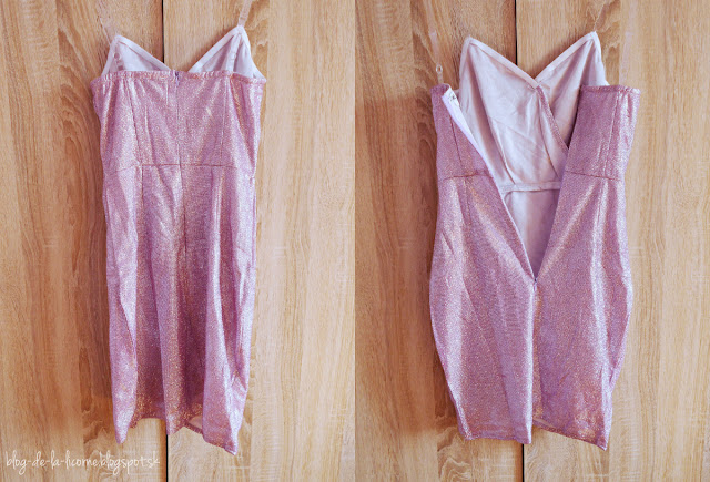 Femme Luxe Pink Glitter Clear Strap Wrap Mini Dress