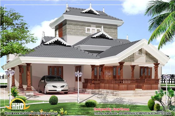 Kerala Style House elevation design - 2600 Sq. Ft. (242 Sq. M.) (289 Square Yards) -  Published on March 2012
