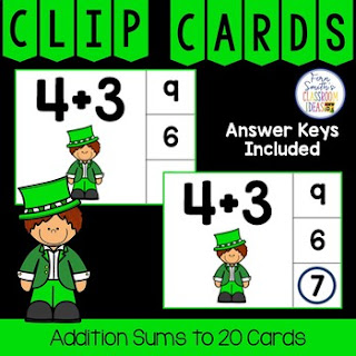 Addition Sums to 20 Clip Cards Leprechaun Themed