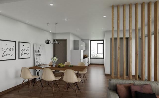Phòng bếp được thiết kế liên thông với phòng khách.