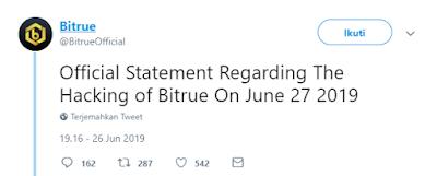 Bitrue di Hack / Bitrue di Retas, sebanyak 9,3juta XRP dan 2juta ADA di pindahkan dari Hot wallet Bitrue oleh hacker ke beberapa exchanger besar seperti bittrex dan huobi.
