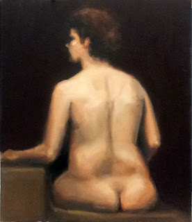 Oil painting of a seated female nude painted from behind.