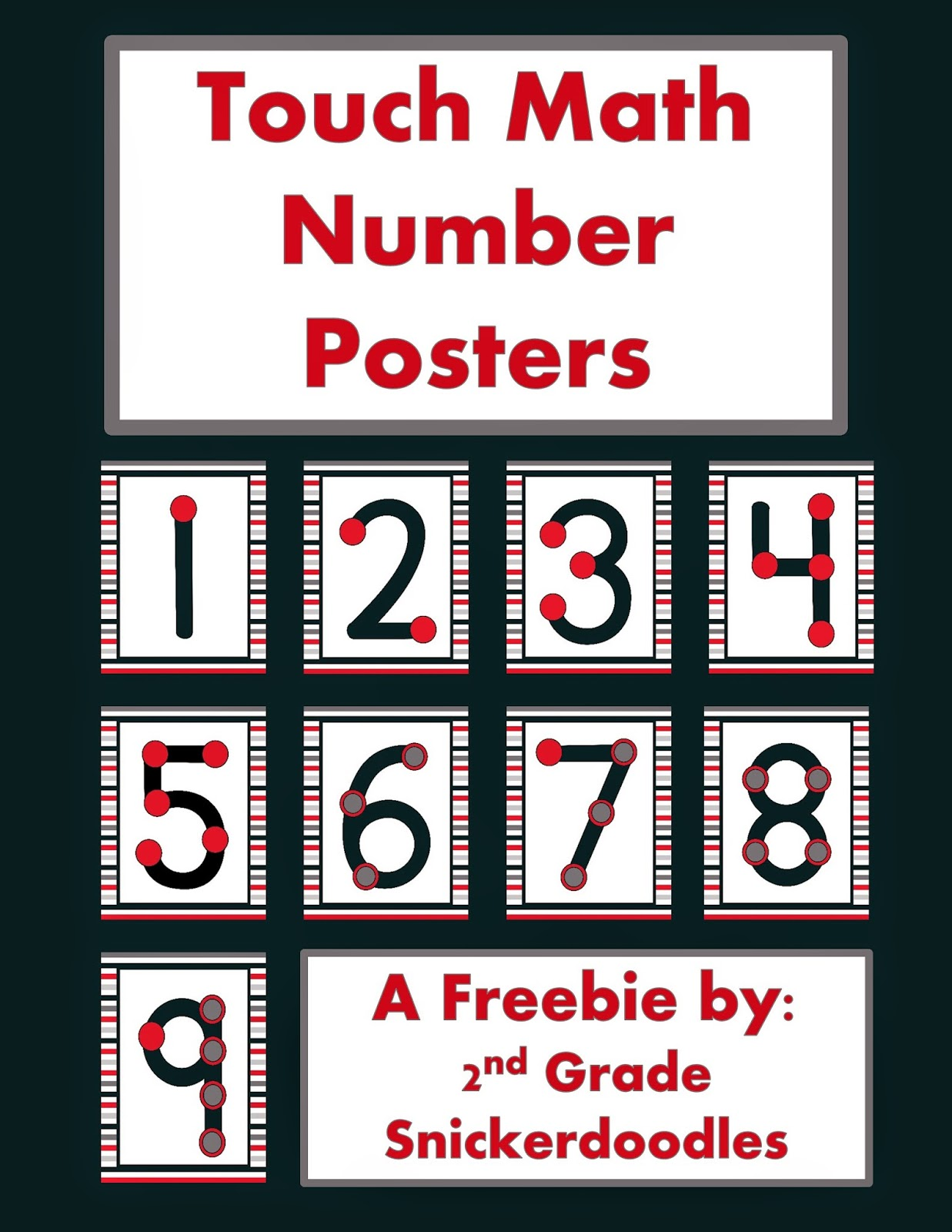 2nd grade snickerdoodles touch math number posters freebie. Black Bedroom Furniture Sets. Home Design Ideas