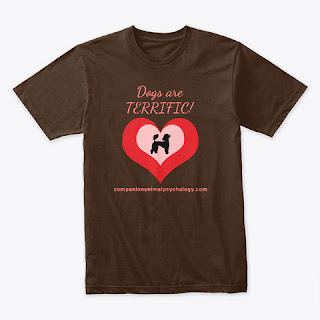 Dogs are Terrific tee in chocolate brown. Companion Animal Psychology merch