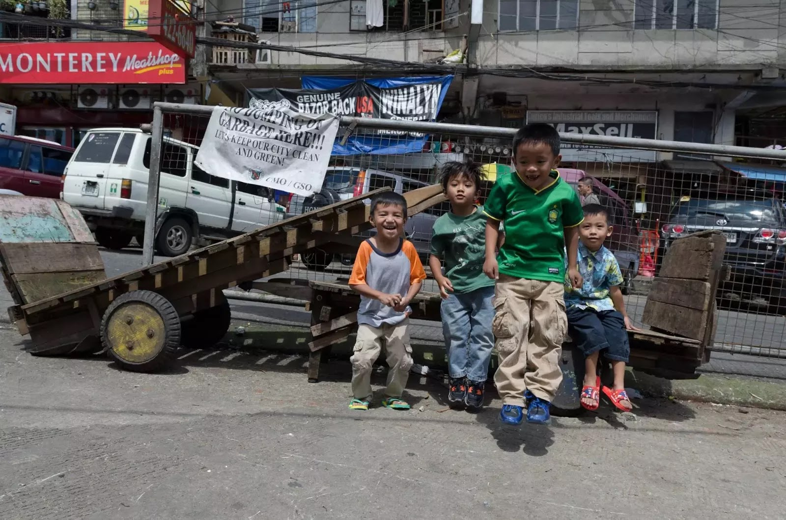 Baguio City Market Porter Carts and Children Cordillera Administrative Region Philippines