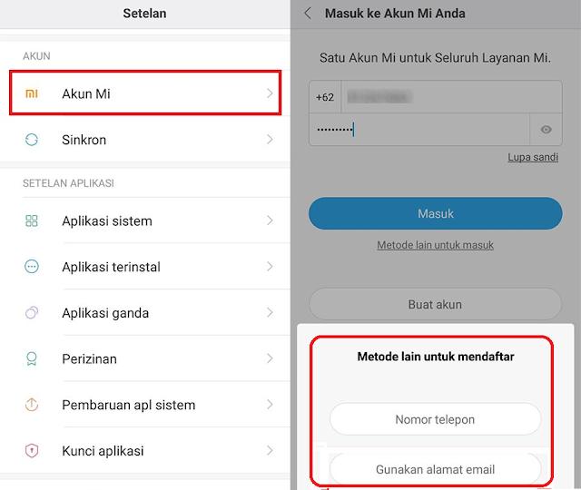 Cara Membuat Akun Mi dari Settingan Xiaomi Langsung