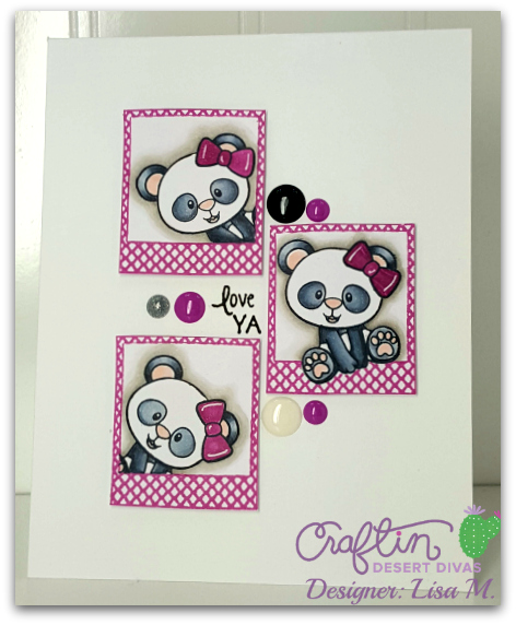 This is a picture of a white, purple, silver and black greeting card with three pandas set in frames with Love Ya Sentiment.