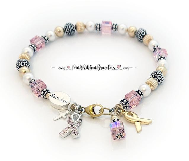 Pink and Gold Breast Cancer Survivor Charm Bracelet