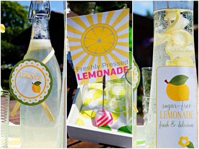 freshly pressed lemonade in bottles decorated with printable labels & cards