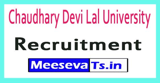 Chaudhary Devi Lal University CDLU Recruitment