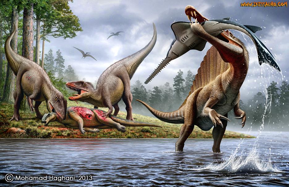 Spinossaurus comendo peixe