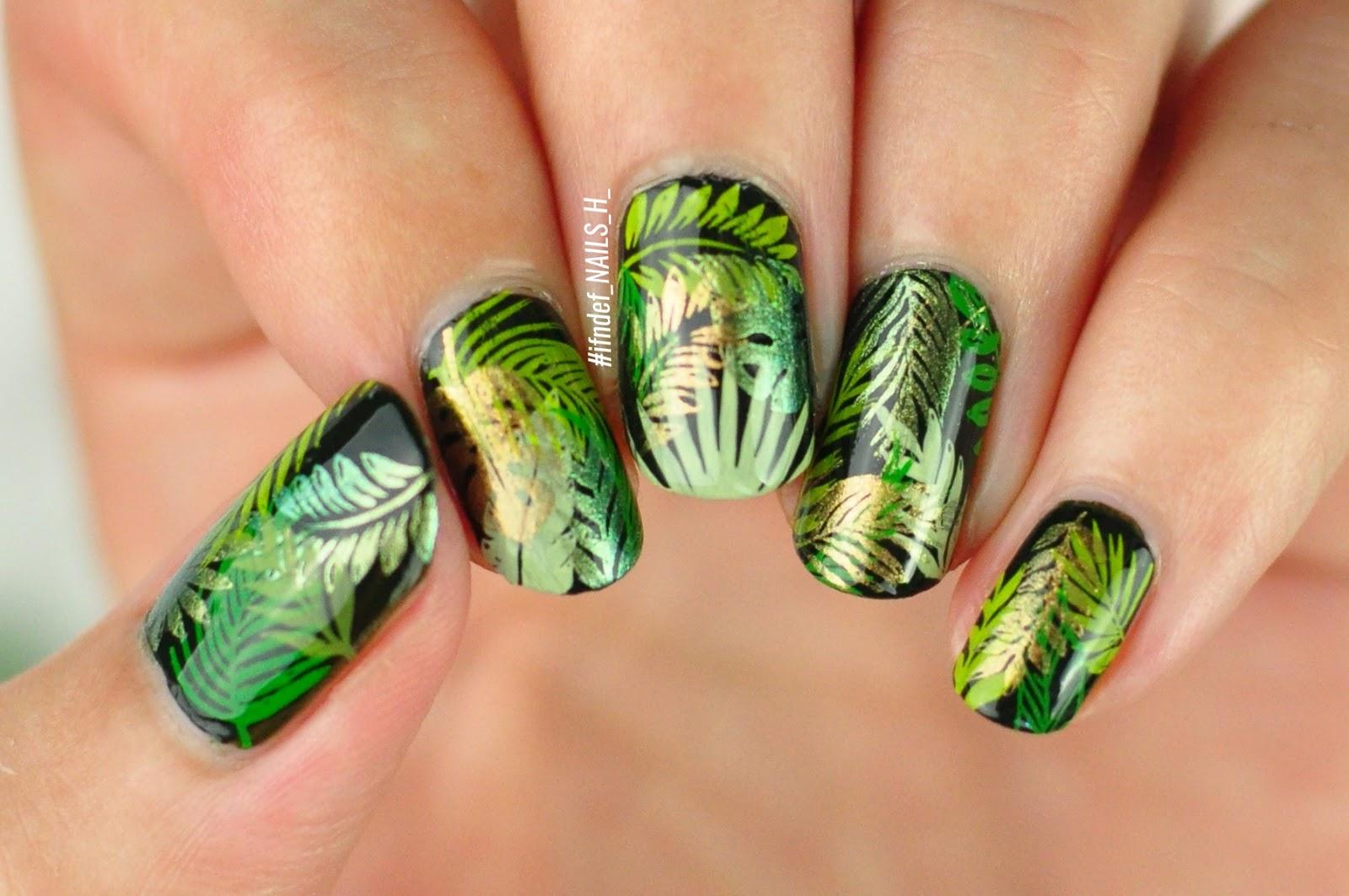 Leaf Goals Dark Green Metallic Leaf Design Ifndef Nails H