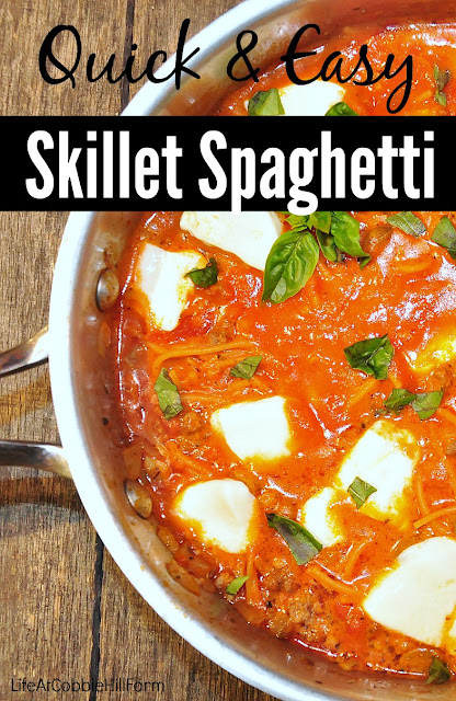 Skillet Spaghetti is a great quick & easy one-pot meal that is DELICIOUS!