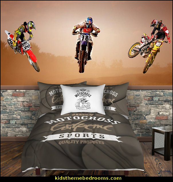 motocross racing bedroom  Motocross bedroom ideas - Dirt bike room decor - Dirt bike wall art -  Motocross bedding  - flame theme decorating ideas - dirt bike room stuff - dirt bike themed rooms - motocross room decor - Dirt Bike themed bedrooms - motorcycles - BMX Off road bike - Motosport - Extreme sports bedrooms