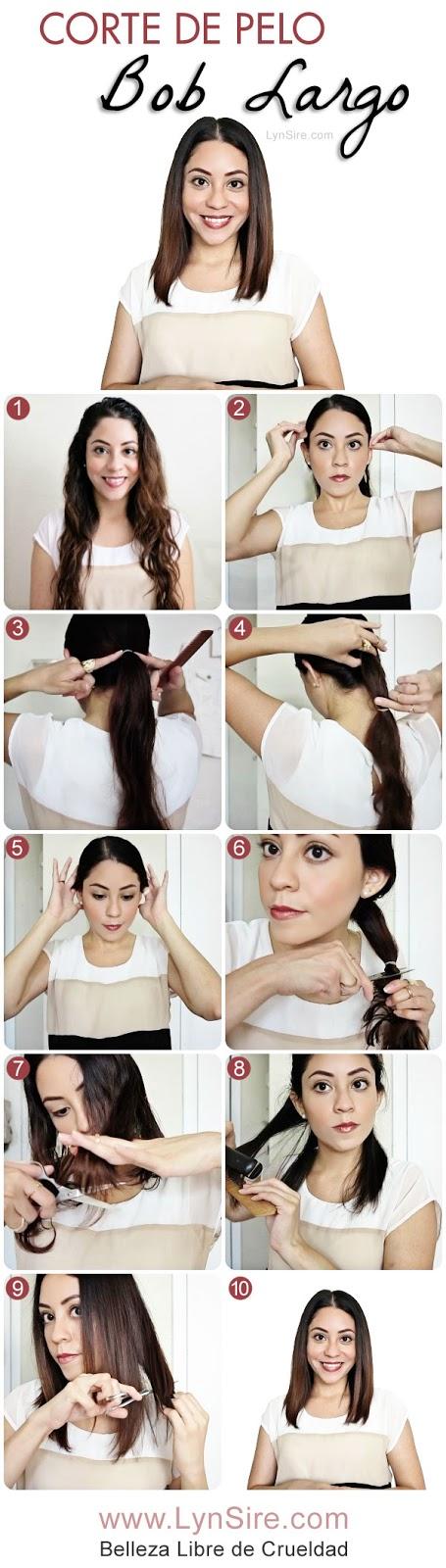 Corte de Pelo Bob Largo Tutorial! Cómo cortarse el cabello uno mismo - LynSire.com | Belleza Libre de Crueldad