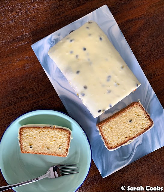 Petite Passionfruit Loaf Cake with Sour Cream Glaze