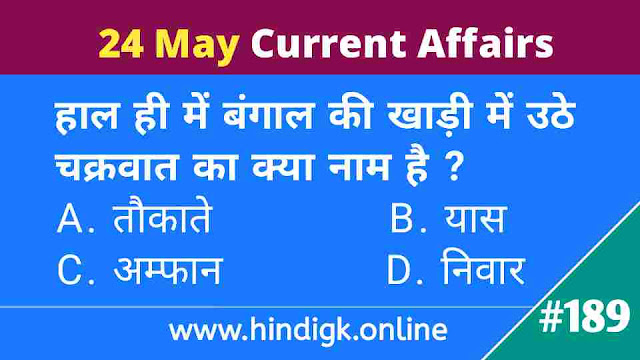 24 May 2021 Current Affairs In Hindi