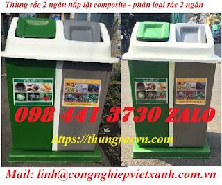 thùng phân loại rác 2 ngan composite