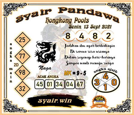 Syair HK Senin 13 September 2021 -