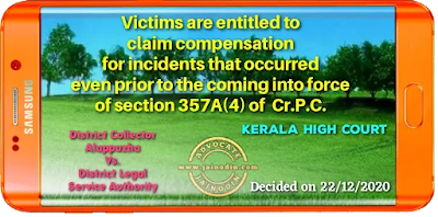 Victims are entitled to claim compensation for incidents that occurred even prior to the coming into force of section 357A(4) of  Cr.P.C.