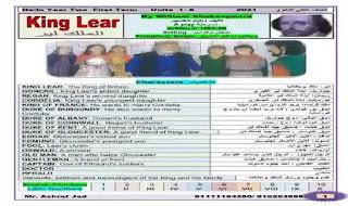 مذكرة شرح وترجمة قصة الملك لير king lear للصف الثانى الثانوى الترم الاول 2021