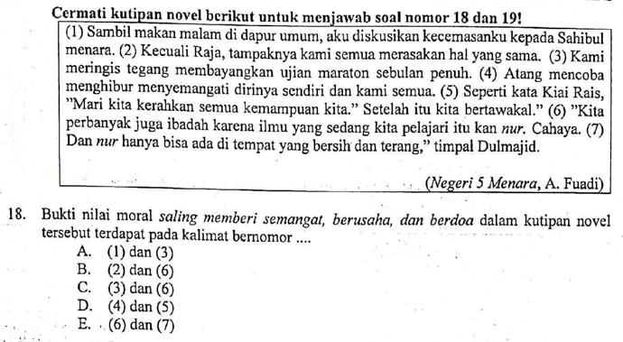 Contoh Soal Bukti Nilai Moral Dalam Kutipan Cerita Pembahasan Soal Un Sma Tahun 2019 Mata Pelajaran Bahasa Indonesia Nomor 18 Zuhri Indonesia