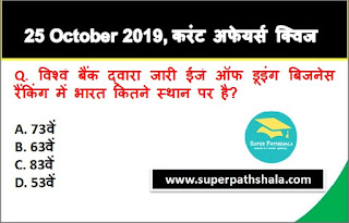 Daily Current Affairs Quiz 25 October 2019 in Hindi
