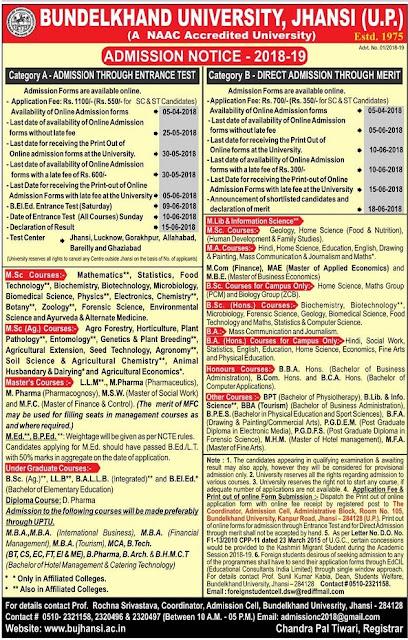 BU Jhansi Admission 2018 Bundelkhand University Online Form