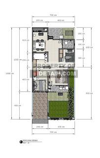 Denah Rumah Ukuran Tanah 7x15 3 Kamar Tidur