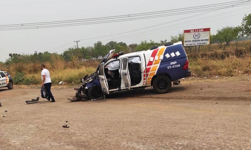 Viatura da PM se envolve em acidente na BR 163/364, em Jangada
