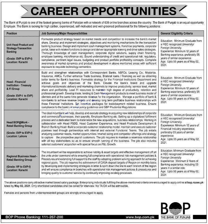 The Bank of Punjab BOP Latest Jobs April 2021 - Online Apply